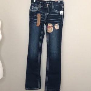NEW NWT Amethyst Dark Wash Ladies Denim Jeans Sz 1